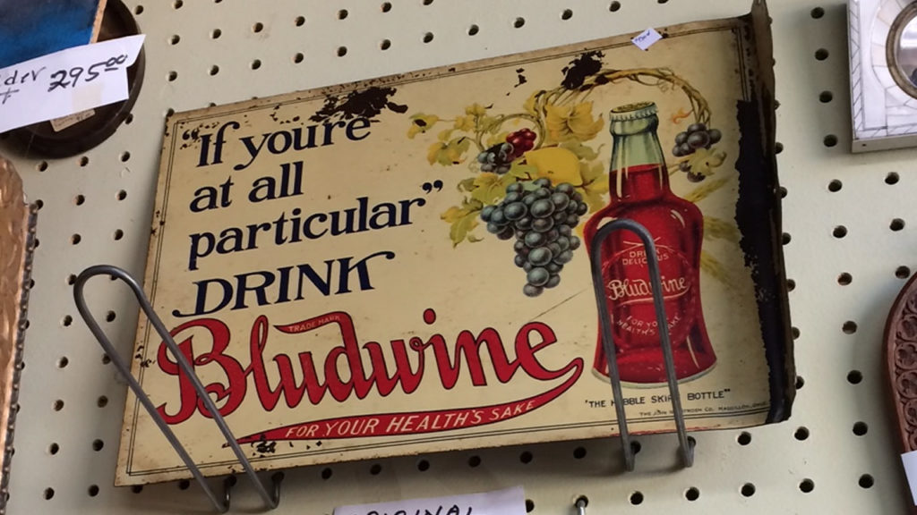 Bludwine soft drink sign